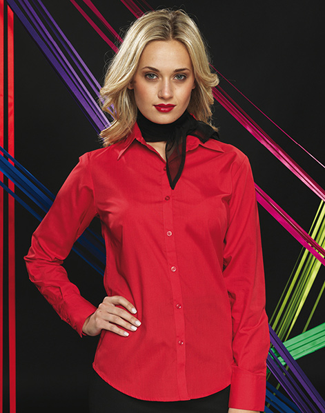 PR300 - Women's Poplin Long Sleeve Blouse